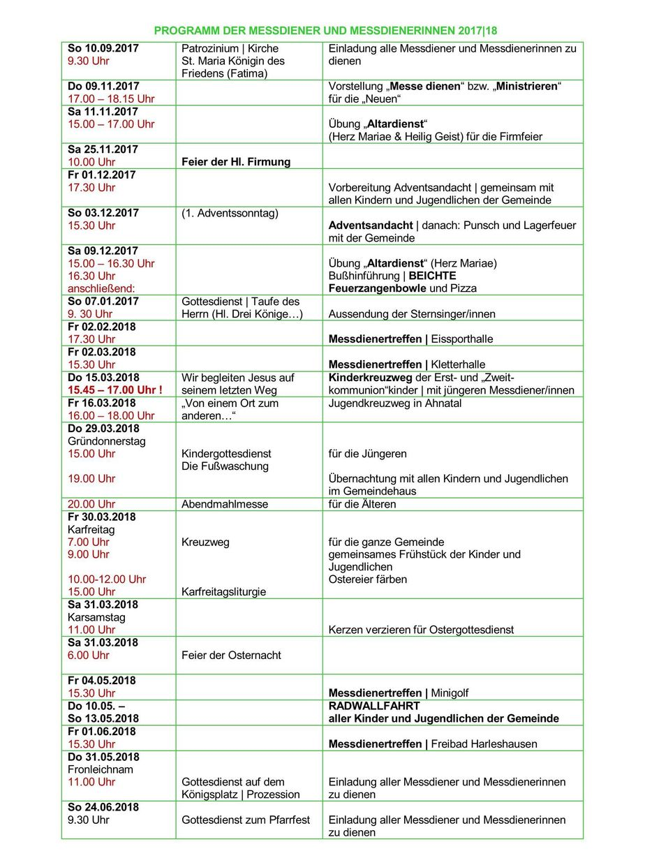 Programm der Messdiener und Messdienerinnen